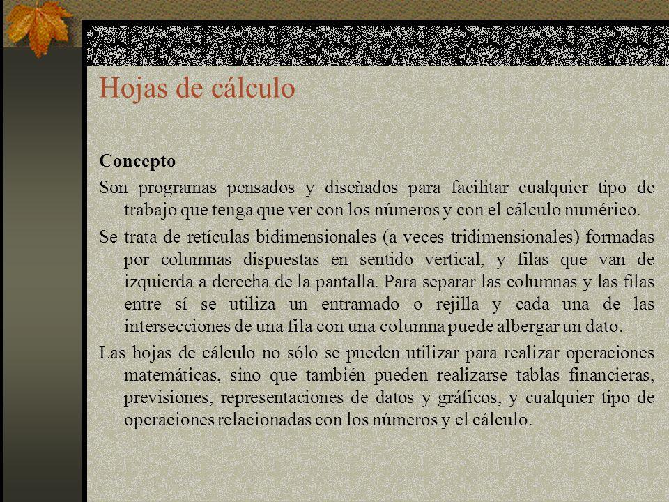 Hojas de cálculo Concepto Son programas pensados y diseñados para facilitar cualquier tipo de trabajo que tenga que ver con los números y con el cálculo numérico.
