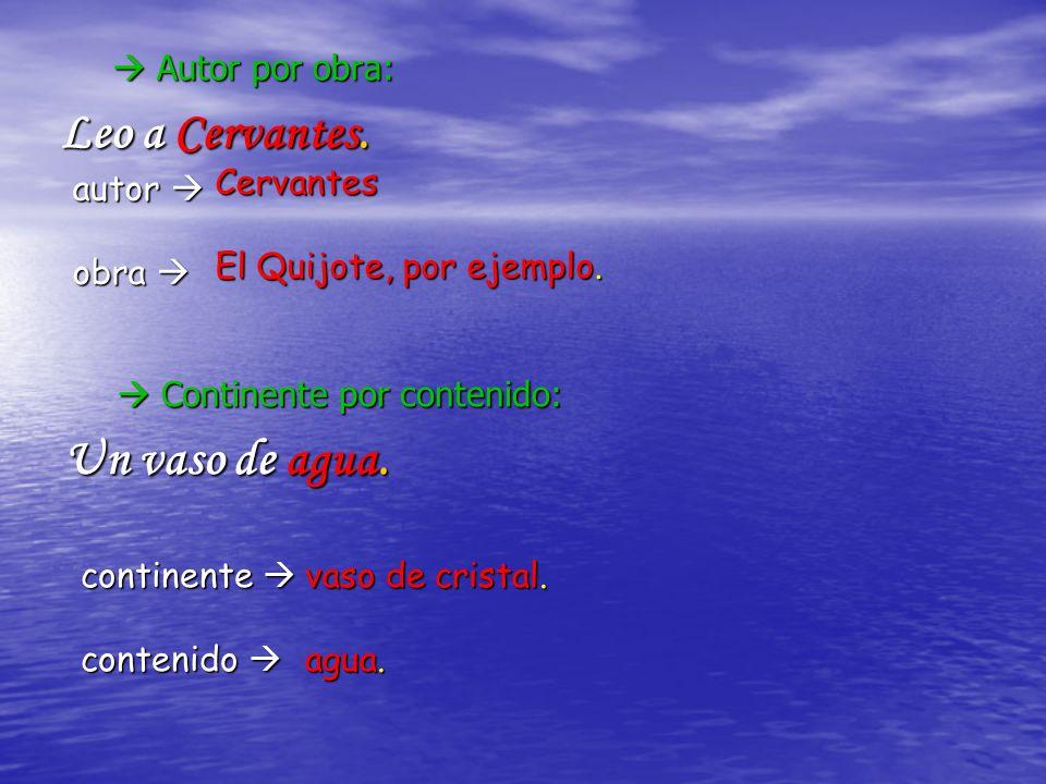 Autor por obra: Leo a Cervantes.continente continente contenido contenido vaso de cristal.