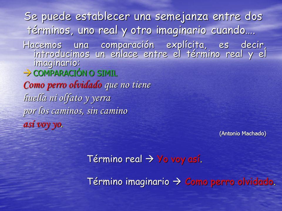 Término real Término real Término imaginario Término imaginario Identificamos el término real y el imaginario sin que exista una comparación explícita: M METÁFORA.