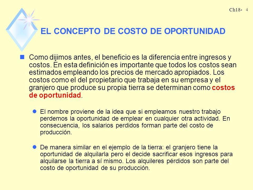 Ch18- 3 BENEFICIOS El beneficio se define como el ingreso menos el costo. Suponga que la empresa produce un bien y y emplea m ínsumos (x 1, x 2, …, x