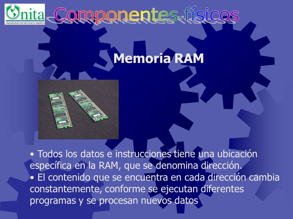 De acceso aleatorio. Temporal (Volátil). Los datos pueden cambiarse. Durante el procesamiento, todos los programas y datos deben ser transferidos a la