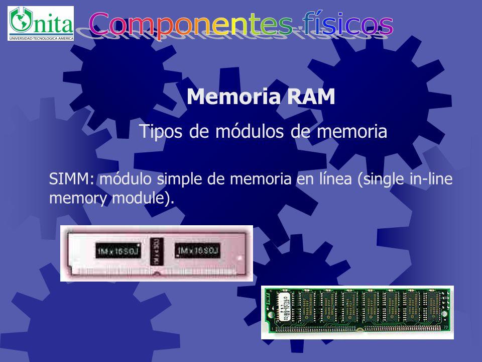 Memoria RAM Módulos de memoria Al poner la memoria hay que fijarse en la forma de la ranura ya que esta se adapta a la forma del modulo sólo tiene una posición.