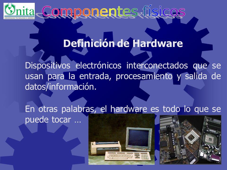 Contenidos Definición de hardware. Procesamiento de datos. Clasificación del hardware La memoria principal Arquitectura Von Neumann Tarjeta Madre El p