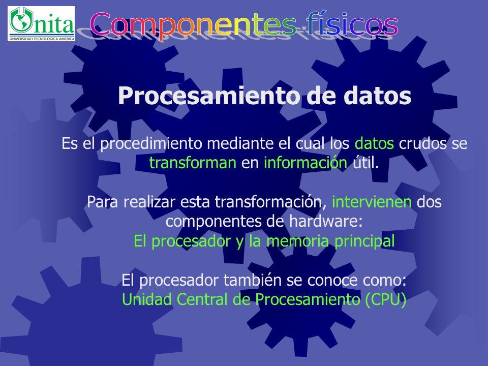 Clasificación del Hardware Cada pieza de hardware, forma parte de una de cinco categorías: Procesador Memoria principal Dispositivos de entrada Dispositivos de salida Dispositivos de almacenamiento secundario