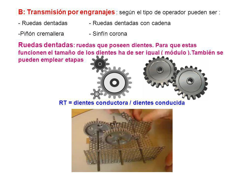 A: Transmisión por poleas : en estos mecanismos una correa conduce ambas ruedas. FORMULA: RT = vel salida / vel entrada = diámetro entr. / diámetro sa