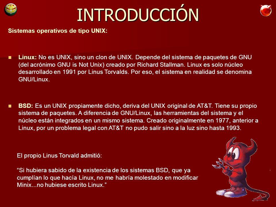 Sistemas operativos de tipo UNIX: Linux: No es UNIX, sino un clon de UNIX.