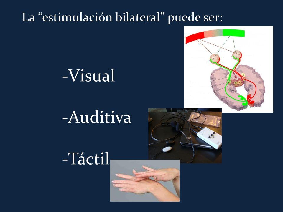 La estimulación bilateral puede ser: -Visual -Auditiva -Táctil