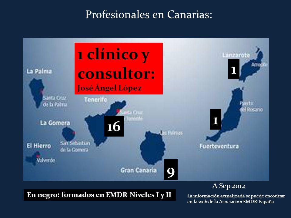 9 1 clínico y consultor: José Ángel López 1 1 16 En negro: formados en EMDR Niveles I y II A Sep 2012 La información actualizada se puede encontrar en
