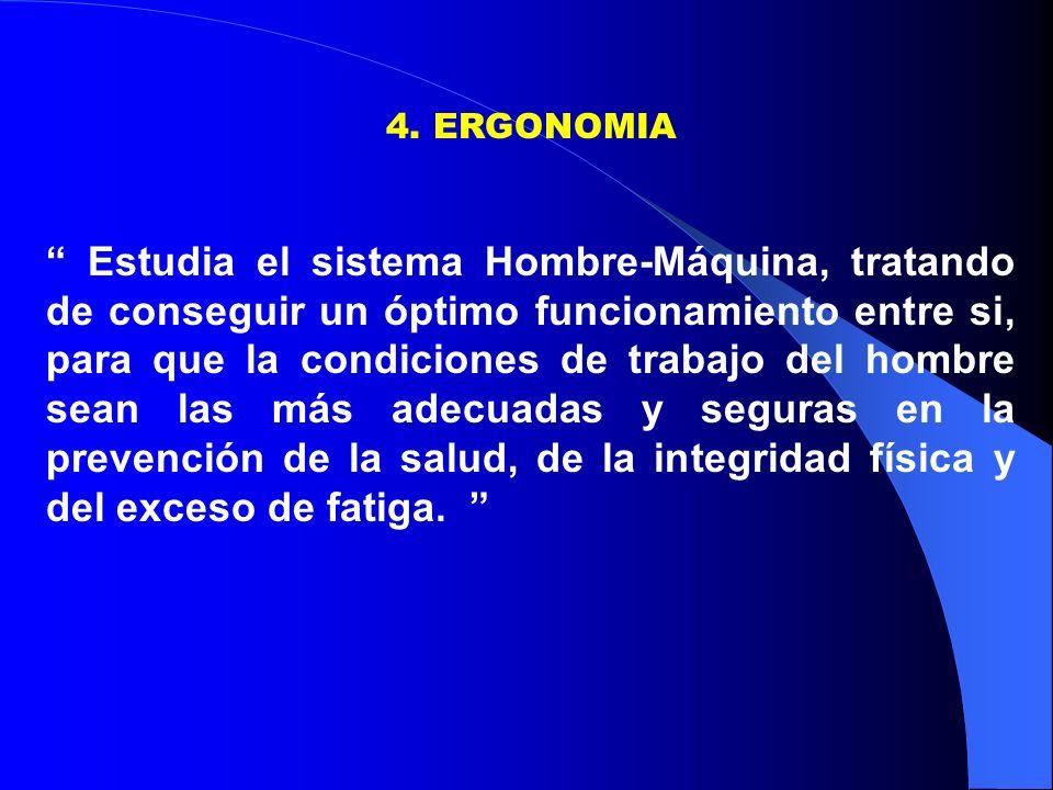 4. ERGONOMIA Estudia el sistema Hombre-Máquina, tratando de conseguir un óptimo funcionamiento entre si, para que la condiciones de trabajo del hombre