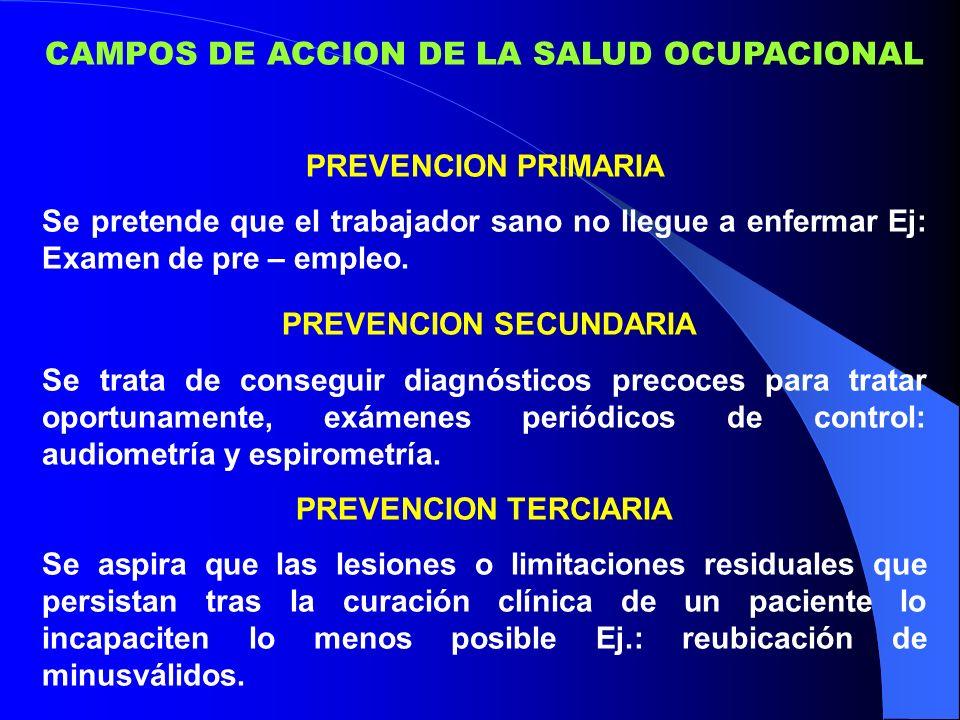 CAMPOS DE ACCION DE LA SALUD OCUPACIONAL PREVENCION PRIMARIA Se pretende que el trabajador sano no llegue a enfermar Ej: Examen de pre – empleo.