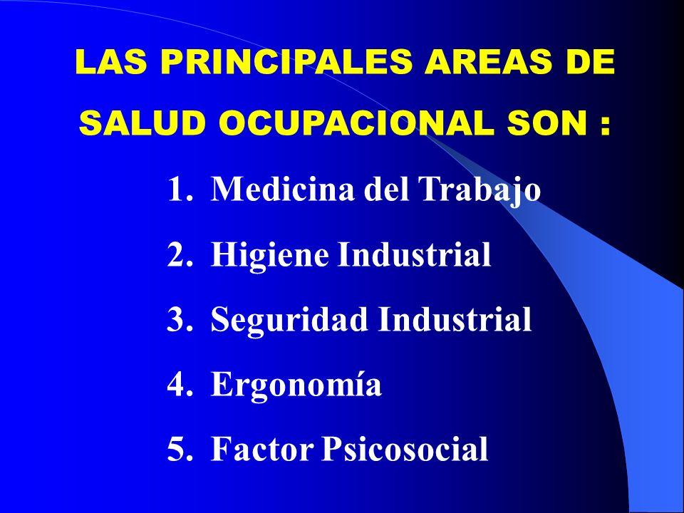 LAS PRINCIPALES AREAS DE SALUD OCUPACIONAL SON : 1.