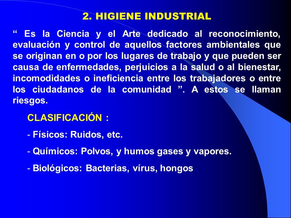 2. HIGIENE INDUSTRIAL Es la Ciencia y el Arte dedicado al reconocimiento, evaluación y control de aquellos factores ambientales que se originan en o p