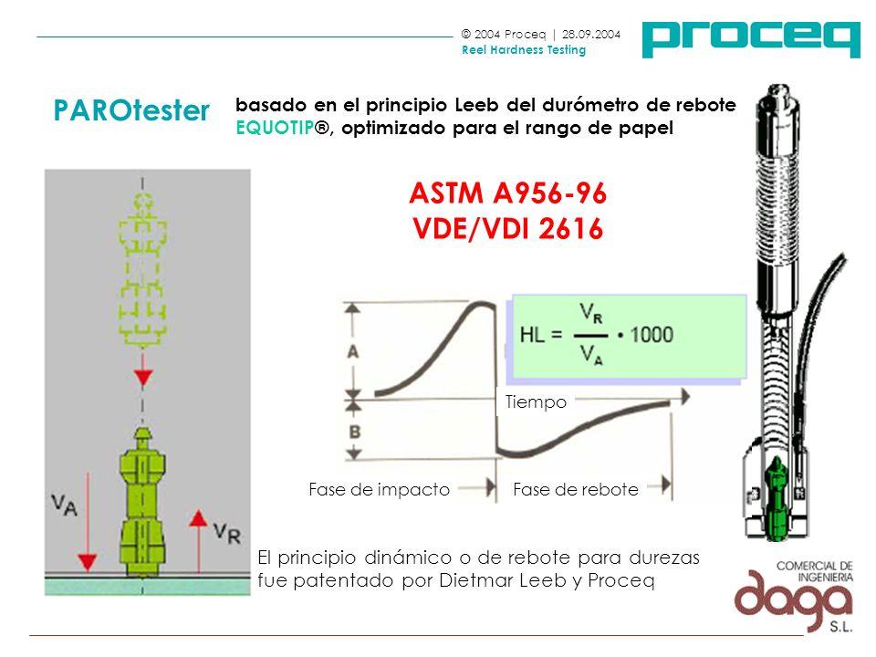 basado en el principio Leeb del durómetro de rebote EQUOTIP®, optimizado para el rango de papel © 2004 Proceq | 28.09.2004 Reel Hardness Testing PAROt