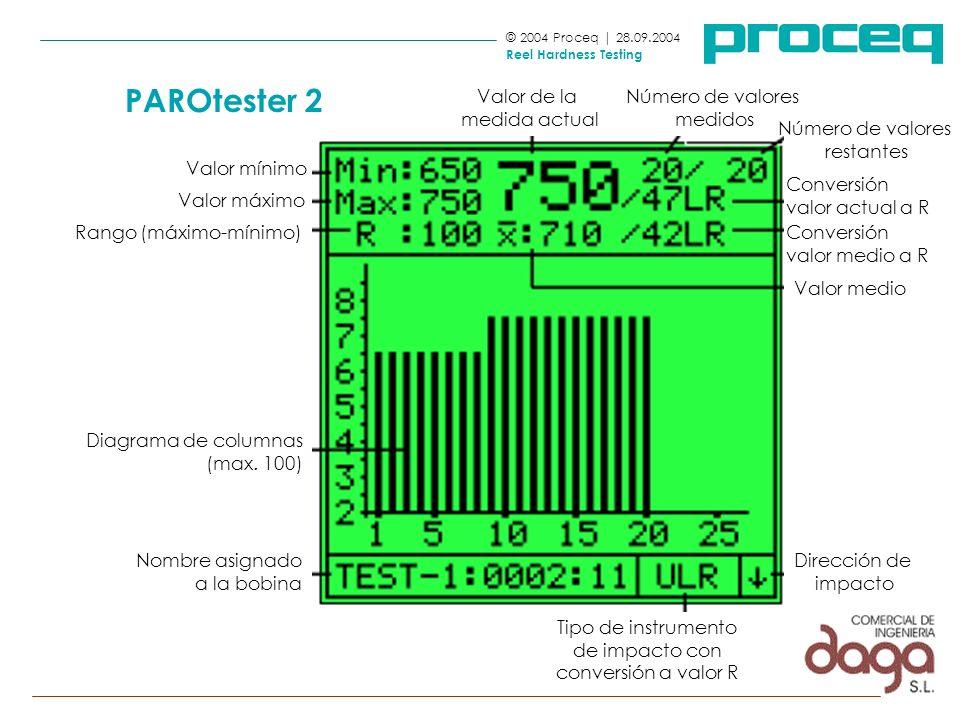 © 2004 Proceq | 28.09.2004 Reel Hardness Testing PAROtester 2 Número de valores restantes Valor de la medida actual Nombre asignado a la bobina Diagra