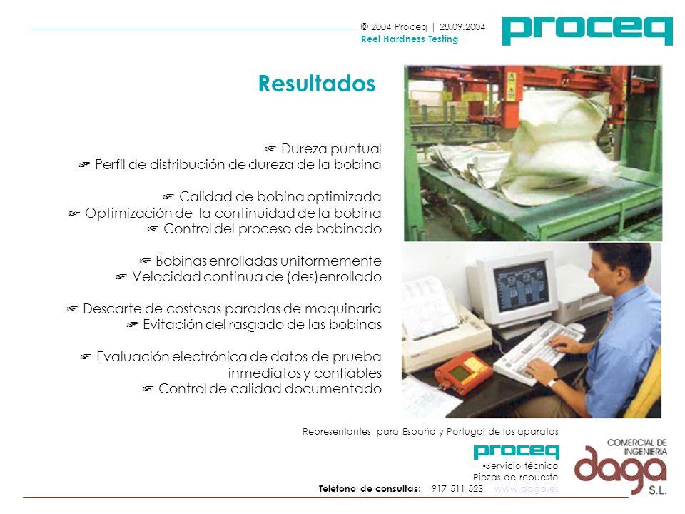 © 2004 Proceq | 28.09.2004 Reel Hardness Testing Dureza puntual Perfil de distribución de dureza de la bobina Calidad de bobina optimizada Optimizació
