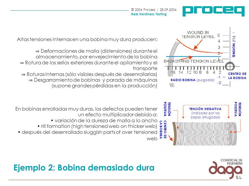 Altas tensiones internas en una bobina muy dura producen: Deformaciones de malla (distensiones) durante el almacenamiento, por envejecimiento de la bo