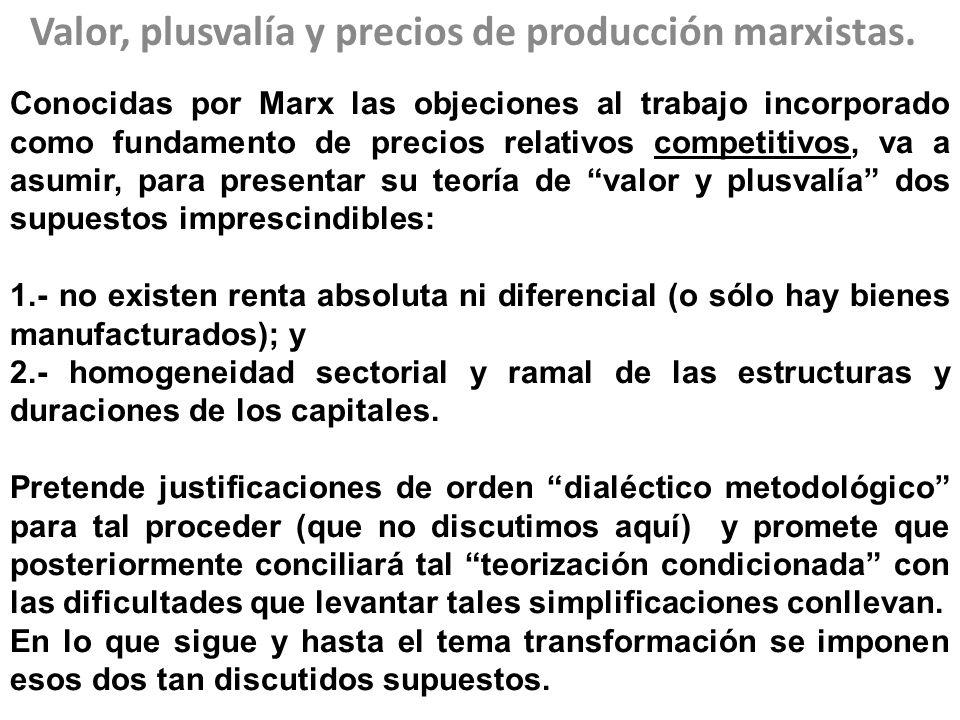 Valor, plusvalía y precios de producción marxistas. Conocidas por Marx las objeciones al trabajo incorporado como fundamento de precios relativos comp