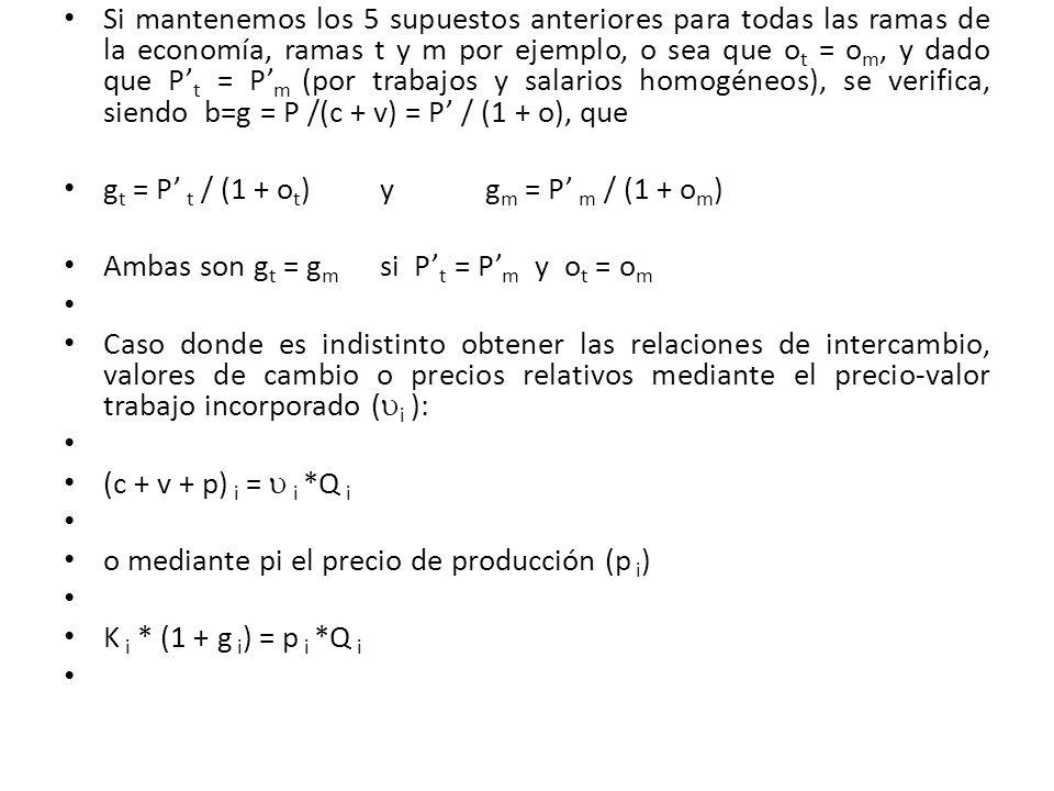 Si mantenemos los 5 supuestos anteriores para todas las ramas de la economía, ramas t y m por ejemplo, o sea que o t = o m, y dado que P t = P m (por
