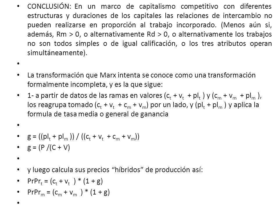 CONCLUSIÓN: En un marco de capitalismo competitivo con diferentes estructuras y duraciones de los capitales las relaciones de intercambio no pueden re