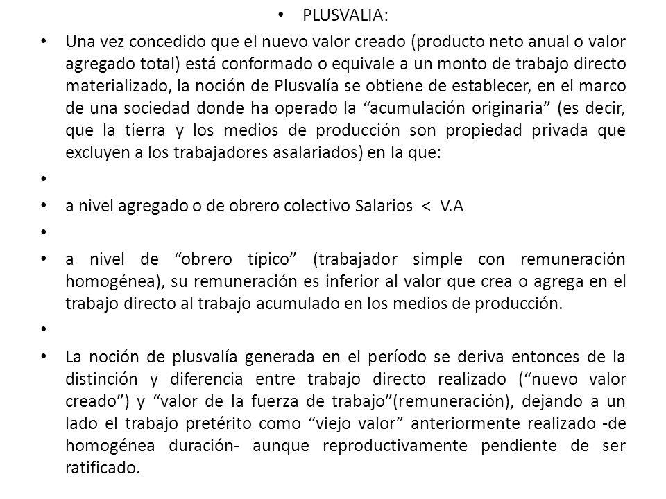 PLUSVALIA: Una vez concedido que el nuevo valor creado (producto neto anual o valor agregado total) está conformado o equivale a un monto de trabajo d