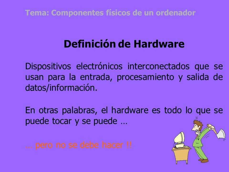 Tema: Componentes físicos de un ordenador Definición de Hardware Dispositivos electrónicos interconectados que se usan para la entrada, procesamiento y salida de datos/información.