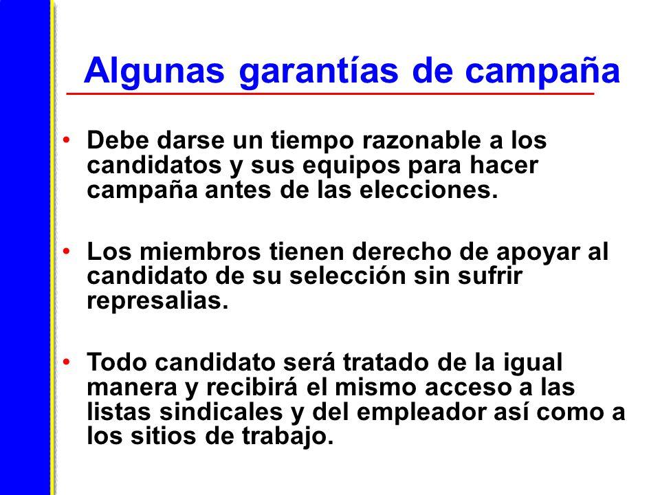 Algunas garantías de campaña Debe darse un tiempo razonable a los candidatos y sus equipos para hacer campaña antes de las elecciones.