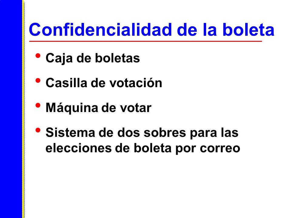 Confidencialidad de la boleta Caja de boletas Casilla de votación Máquina de votar Sistema de dos sobres para las elecciones de boleta por correo