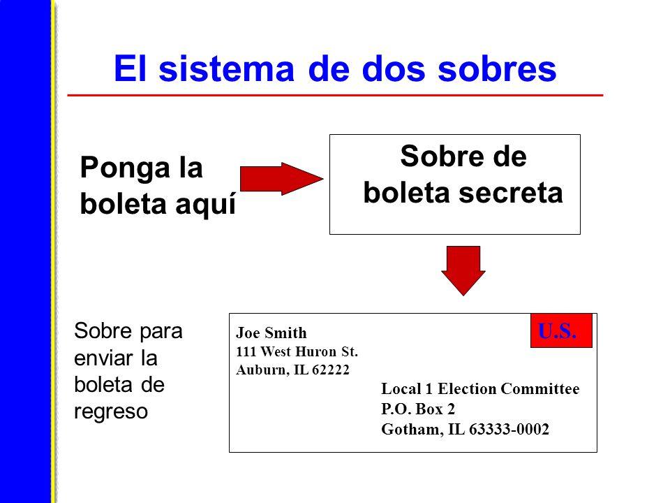 El sistema de dos sobres Ponga la boleta aquí Sobre para enviar la boleta de regreso Sobre de boleta secreta U.S.