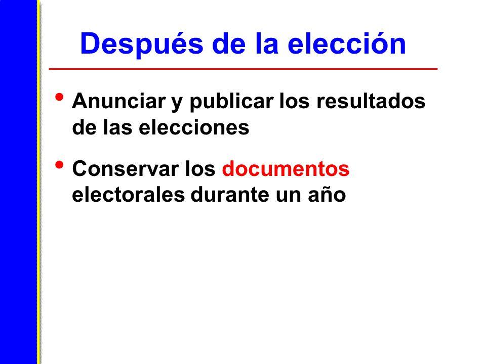 Después de la elección Anunciar y publicar los resultados de las elecciones Conservar los documentos electorales durante un año