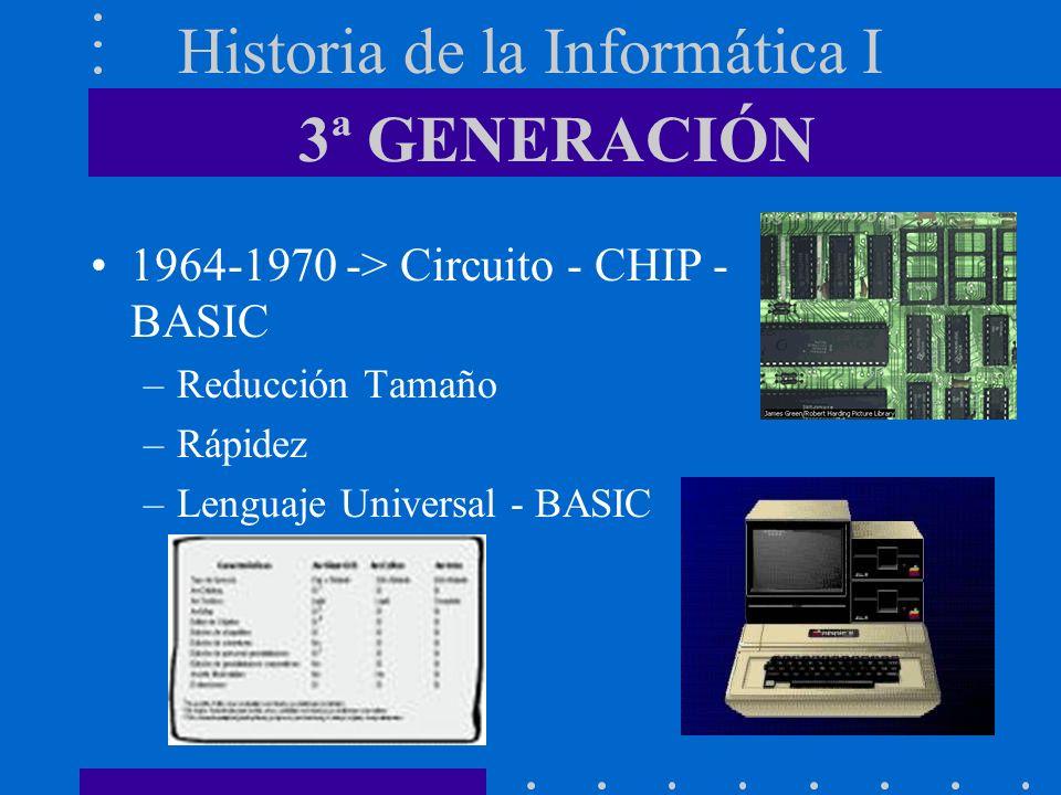 Historia de la Informática I 1964-1970 -> Circuito - CHIP - BASIC –Reducción Tamaño –Rápidez –Lenguaje Universal - BASIC 3ª GENERACIÓN