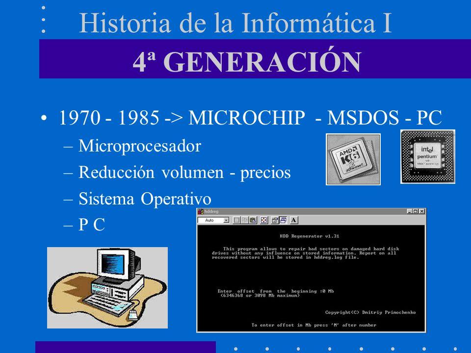 Historia de la Informática I 1970 - 1985 -> MICROCHIP - MSDOS - PC –Microprocesador –Reducción volumen - precios –Sistema Operativo –P C 4ª GENERACIÓN