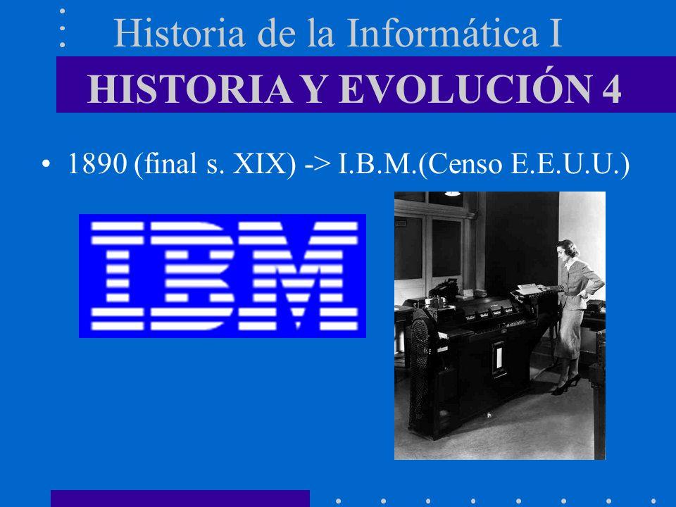 Historia de la Informática I 1890 (final s. XIX) -> I.B.M.(Censo E.E.U.U.) HISTORIA Y EVOLUCIÓN 4