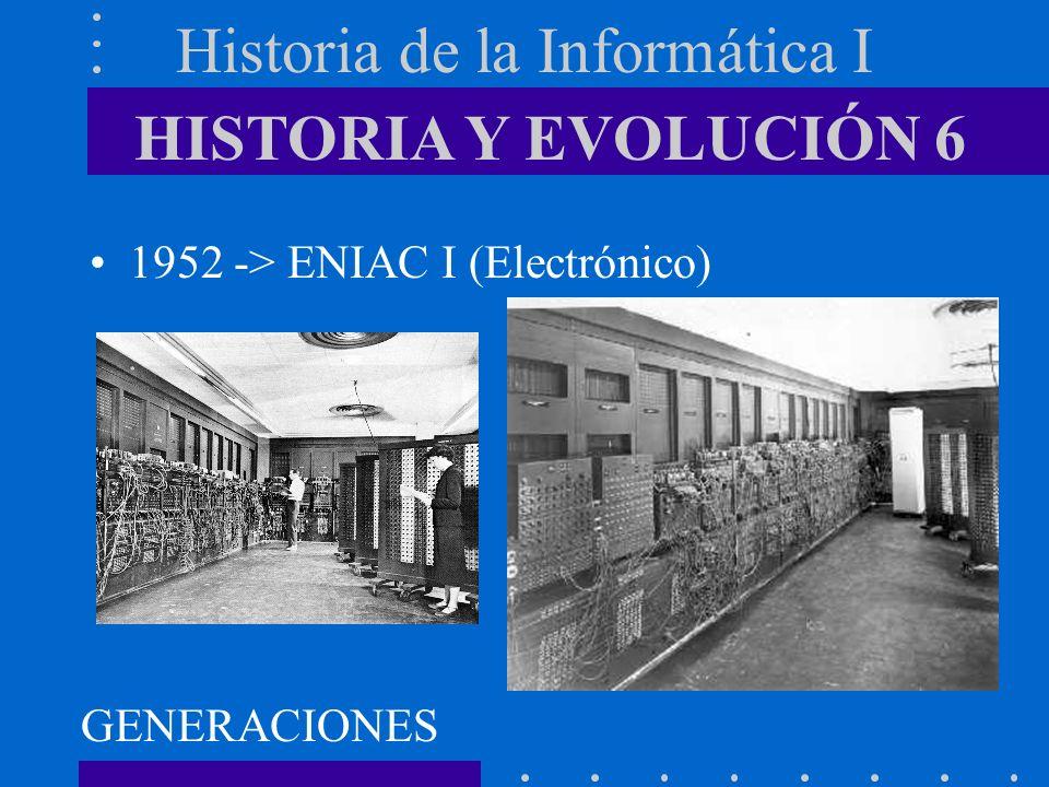 Historia de la Informática I 1940-1952 -> MARK I - ENIAC I –Voluminosos –Sobrecalentamiento –Alto coste económico –Difícil mantenimiento 1ª GENERACIÓN