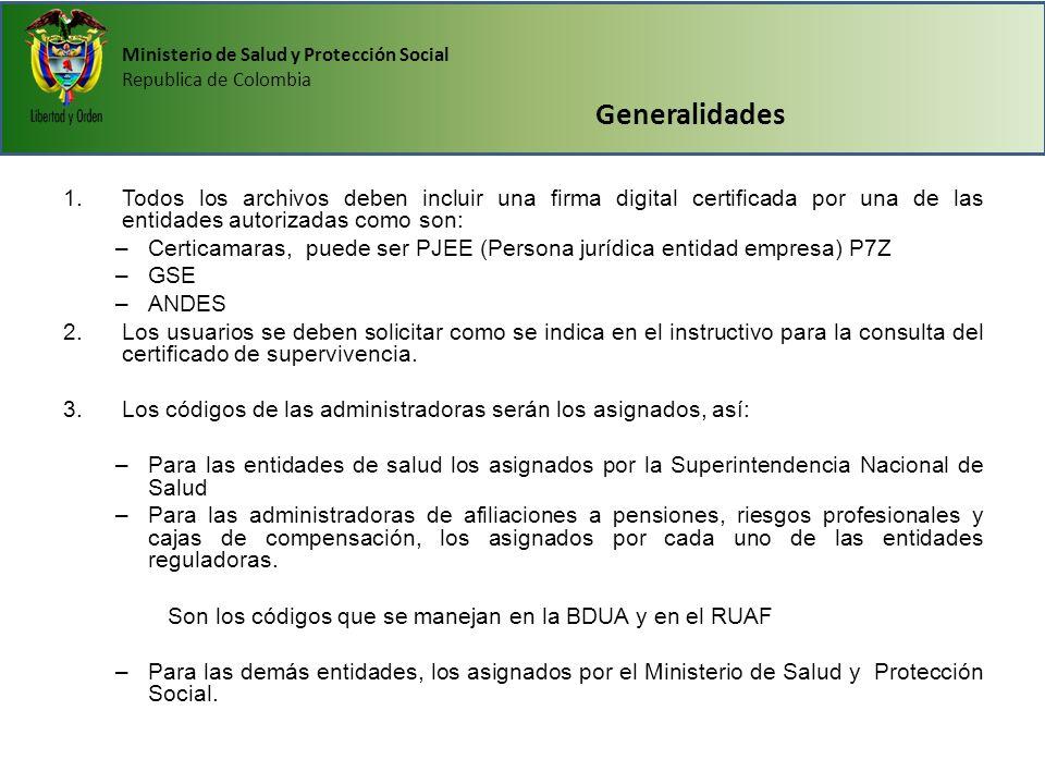 Ministerio de Salud y Protección Social Republica de Colombia Generalidades 1.Todos los archivos deben incluir una firma digital certificada por una d