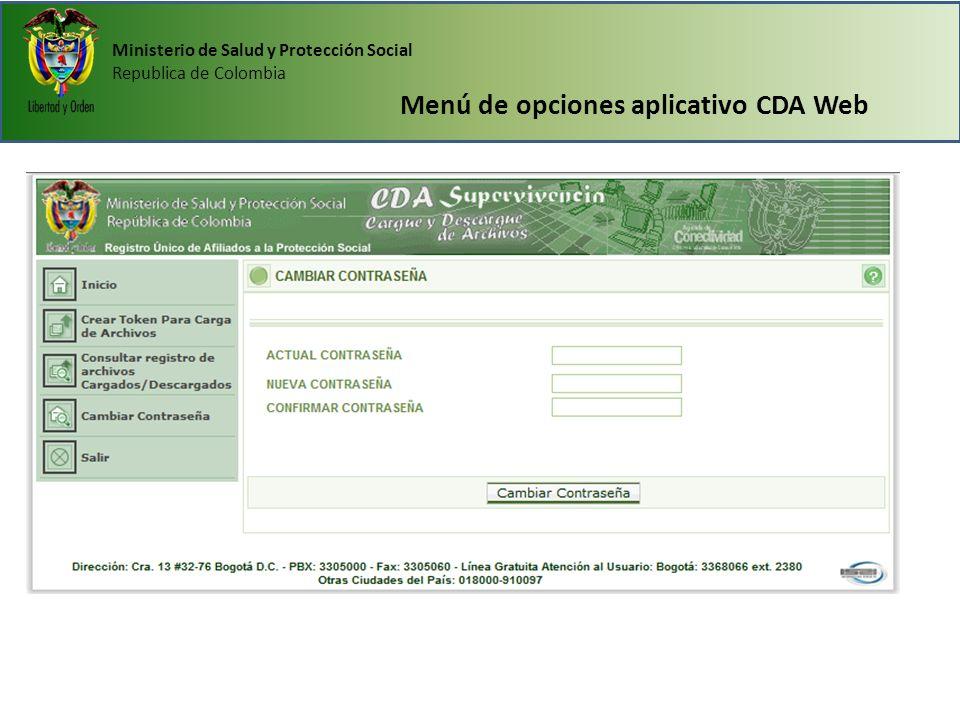 Ministerio de Salud y Protección Social Republica de Colombia Menú de opciones aplicativo CDA Web