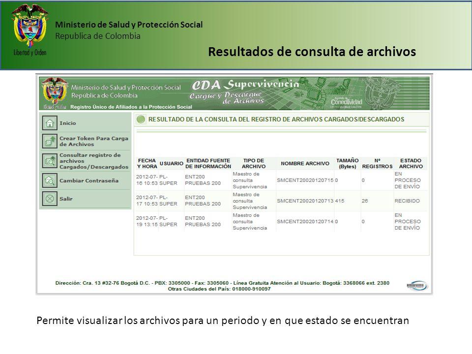 Ministerio de Salud y Protección Social Republica de Colombia Resultados de consulta de archivos Permite visualizar los archivos para un periodo y en