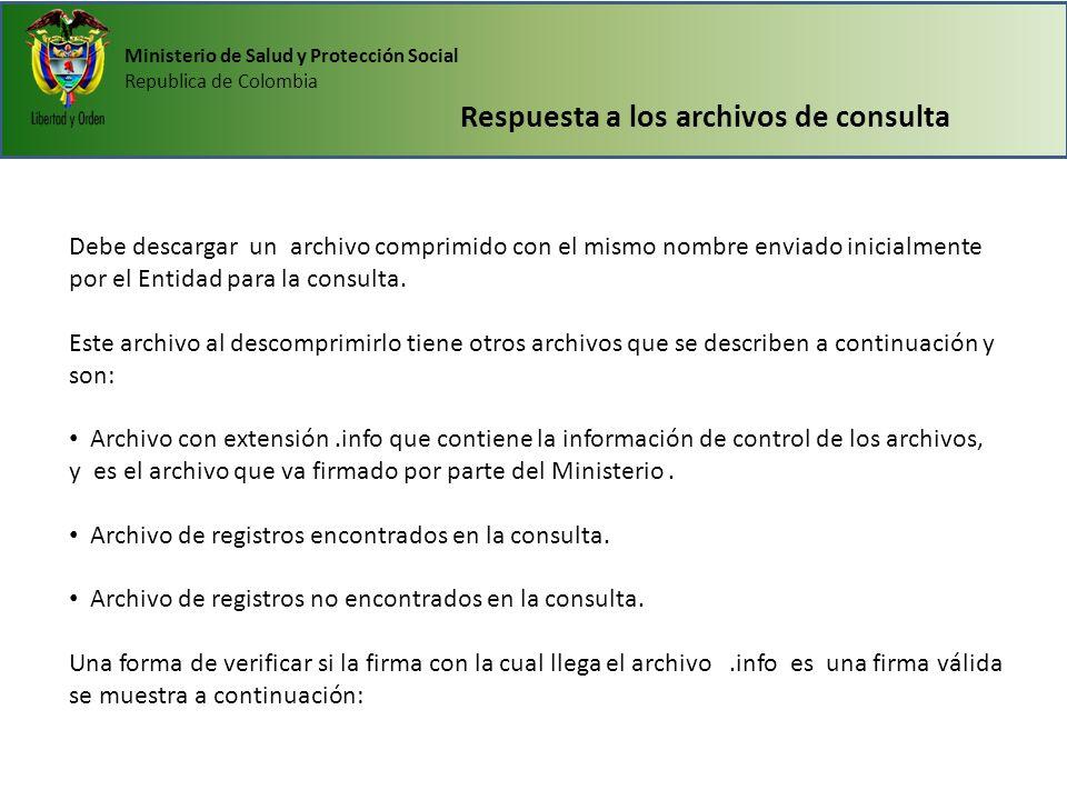 Ministerio de Salud y Protección Social Republica de Colombia Respuesta a los archivos de consulta Debe descargar un archivo comprimido con el mismo n