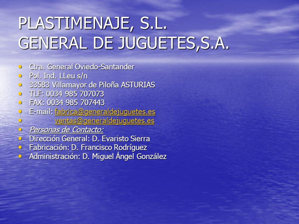 PLASTIMENAJE, S.L. GENERAL DE JUGUETES,S.A. Ctra. General Oviedo-Santander Ctra. General Oviedo-Santander Pol. Ind. LLeu s/n Pol. Ind. LLeu s/n 33583