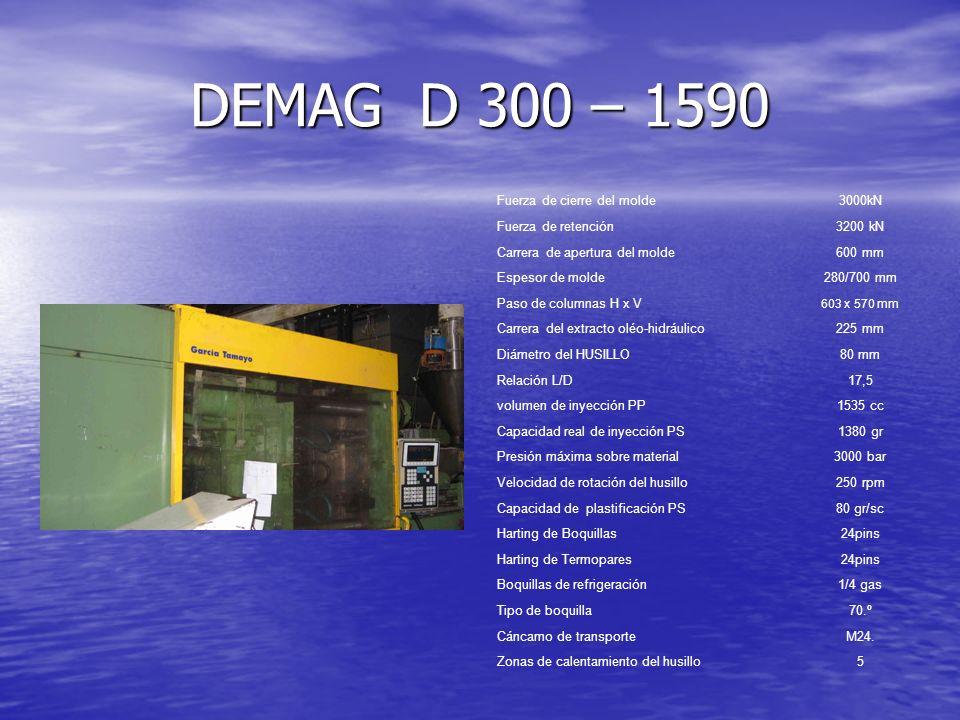 DEMAG D 300 – 1590 Fuerza de cierre del molde3000kN Fuerza de retención3200 kN Carrera de apertura del molde600 mm Espesor de molde280/700 mm Paso de