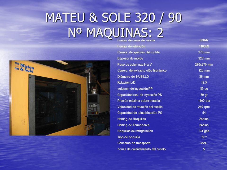 Fuerza de cierre del molde900kN Fuerza de retención1100kN Carrera de apertura del molde270 mm Espesor de molde325 mm Paso de columnas H x V270x270 mm
