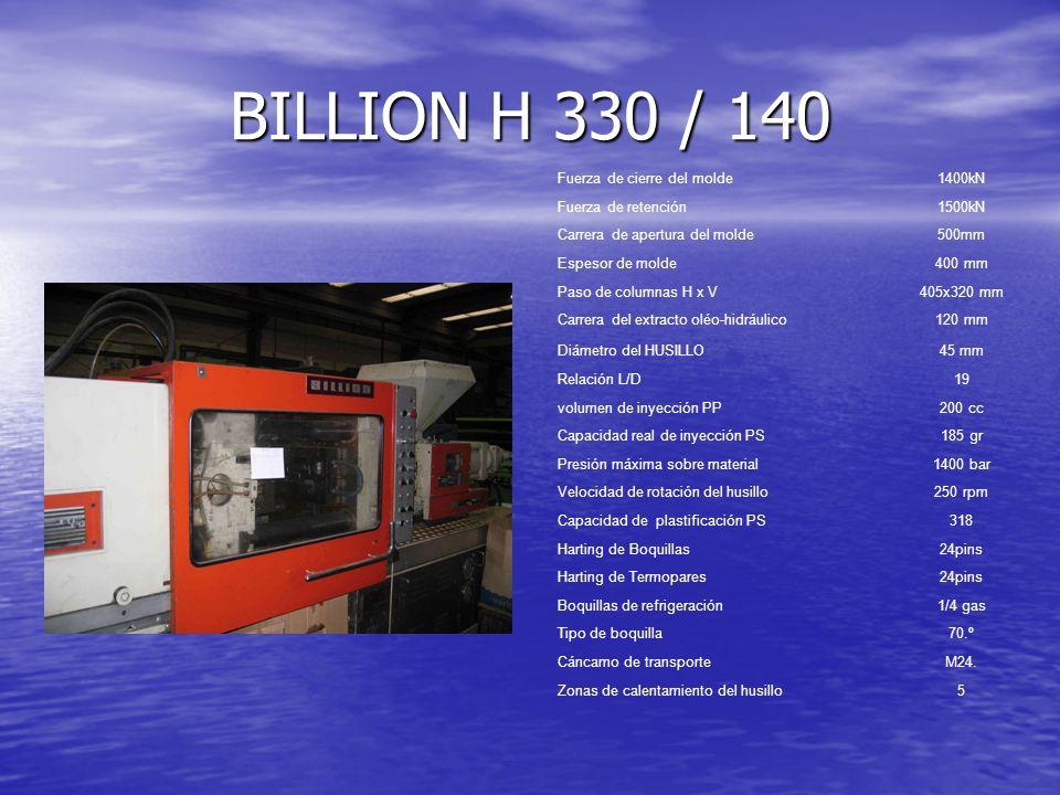 BILLION H 330 / 140 Fuerza de cierre del molde1400kN Fuerza de retención1500kN Carrera de apertura del molde500mm Espesor de molde400 mm Paso de colum