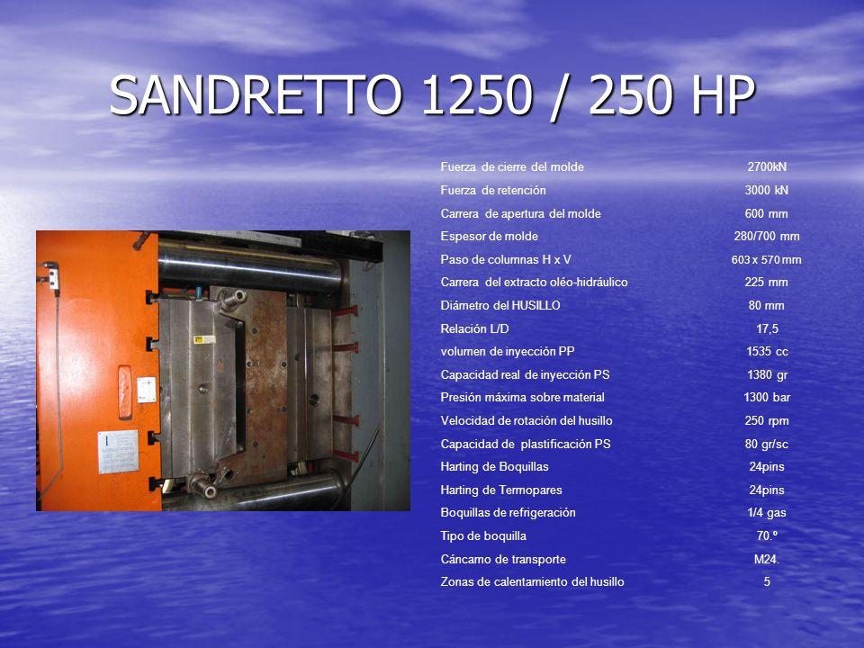 SANDRETTO 1250 / 250 HP Fuerza de cierre del molde2700kN Fuerza de retención3000 kN Carrera de apertura del molde600 mm Espesor de molde280/700 mm Pas