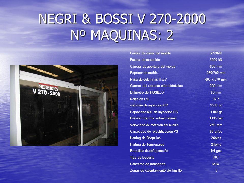 NEGRI & BOSSI V 270-2000 Nº MAQUINAS: 2 Fuerza de cierre del molde2700kN Fuerza de retención3000 kN Carrera de apertura del molde600 mm Espesor de mol