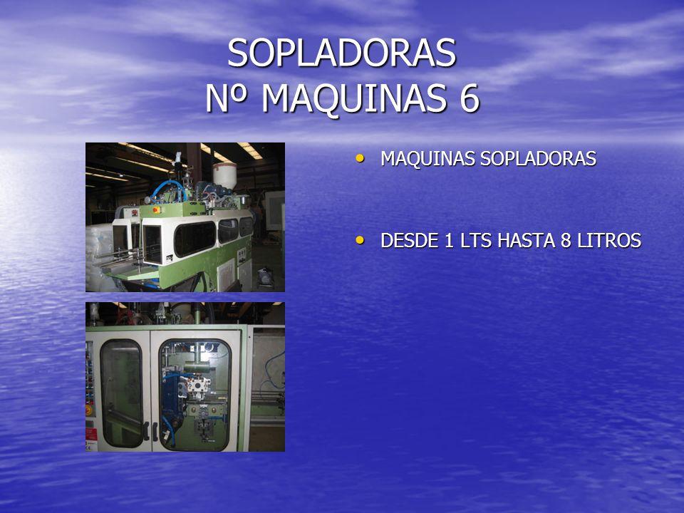 SOPLADORAS Nº MAQUINAS 6 MAQUINAS SOPLADORAS MAQUINAS SOPLADORAS DESDE 1 LTS HASTA 8 LITROS DESDE 1 LTS HASTA 8 LITROS