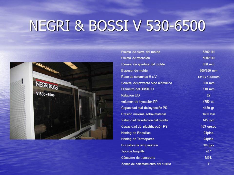 NEGRI & BOSSI V 530-6500 Fuerza de cierre del molde5300 kN Fuerza de retención5600 kN Carrera de apertura del molde830 mm Espesor de molde300/850 mm P