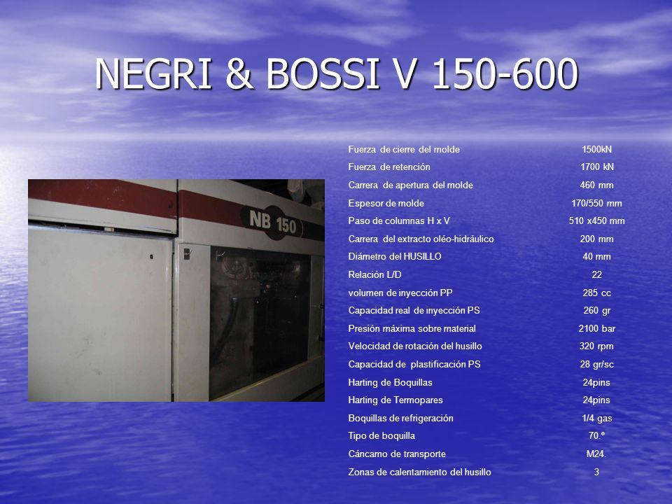 NEGRI & BOSSI V 150-600 Fuerza de cierre del molde1500kN Fuerza de retención1700 kN Carrera de apertura del molde460 mm Espesor de molde170/550 mm Pas