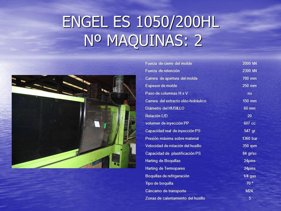 SANDRETTO 1250 / 250 HP Fuerza de cierre del molde2700kN Fuerza de retención3000 kN Carrera de apertura del molde600 mm Espesor de molde280/700 mm Paso de columnas H x V 603 x 570 mm Carrera del extracto oléo-hidráulico225 mm Diámetro del HUSILLO80 mm Relación L/D17,5 volumen de inyección PP1535 cc Capacidad real de inyección PS1380 gr Presión máxima sobre material1300 bar Velocidad de rotación del husillo250 rpm Capacidad de plastificación PS80 gr/sc Harting de Boquillas24pins Harting de Termopares24pins Boquillas de refrigeración1/4 gas Tipo de boquilla70.º Cáncamo de transporteM24.