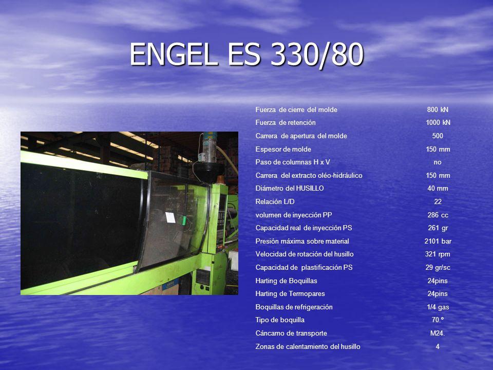 ENGEL ES 330/80 Fuerza de cierre del molde800 kN Fuerza de retención1000 kN Carrera de apertura del molde500 Espesor de molde150 mm Paso de columnas H