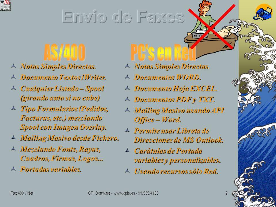 iFax 400 / NetCPI Software - www.cpis.es - 91.535.41351 Sistema Completo de Gestión de Fax para la Empresa.