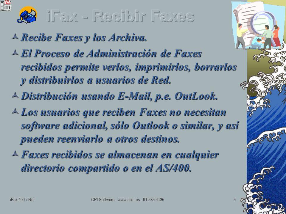 iFax 400 / NetCPI Software - www.cpis.es - 91.535.41355 Recibe Faxes y los Archiva.
